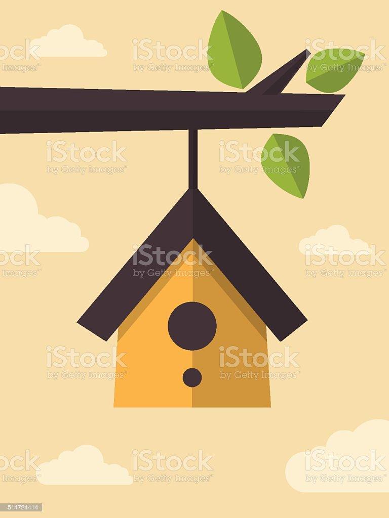 Bird House vector art illustration