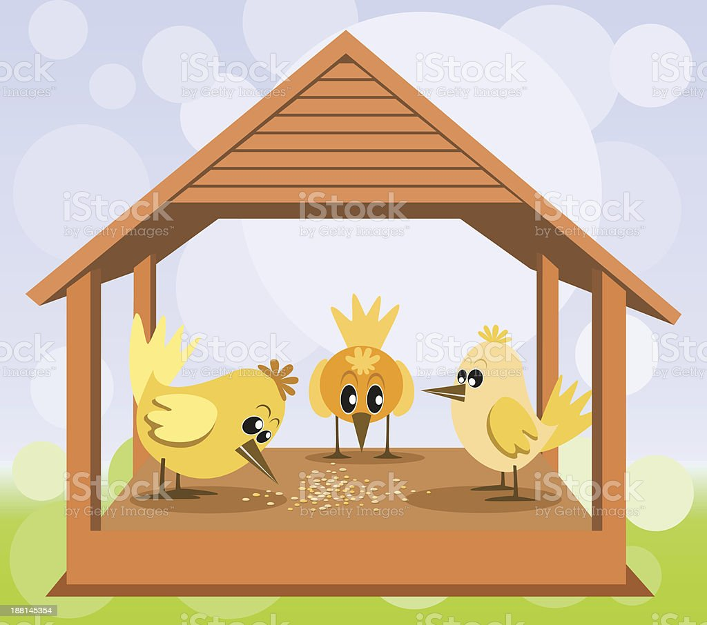 Bird house with birds on the bokeh background royalty-free stock vector art