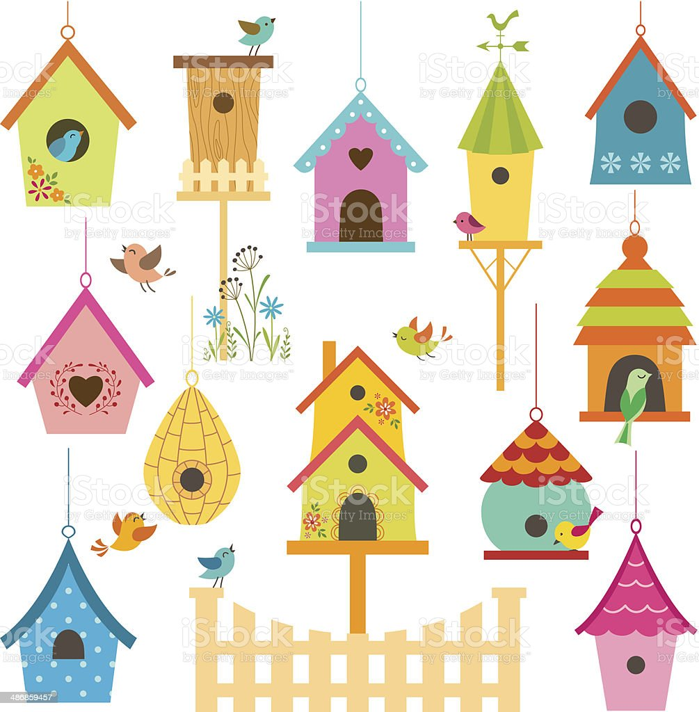 Bird houses vector art illustration