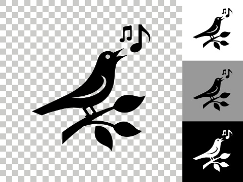 Bird Icon on Checkerboard Transparent Background