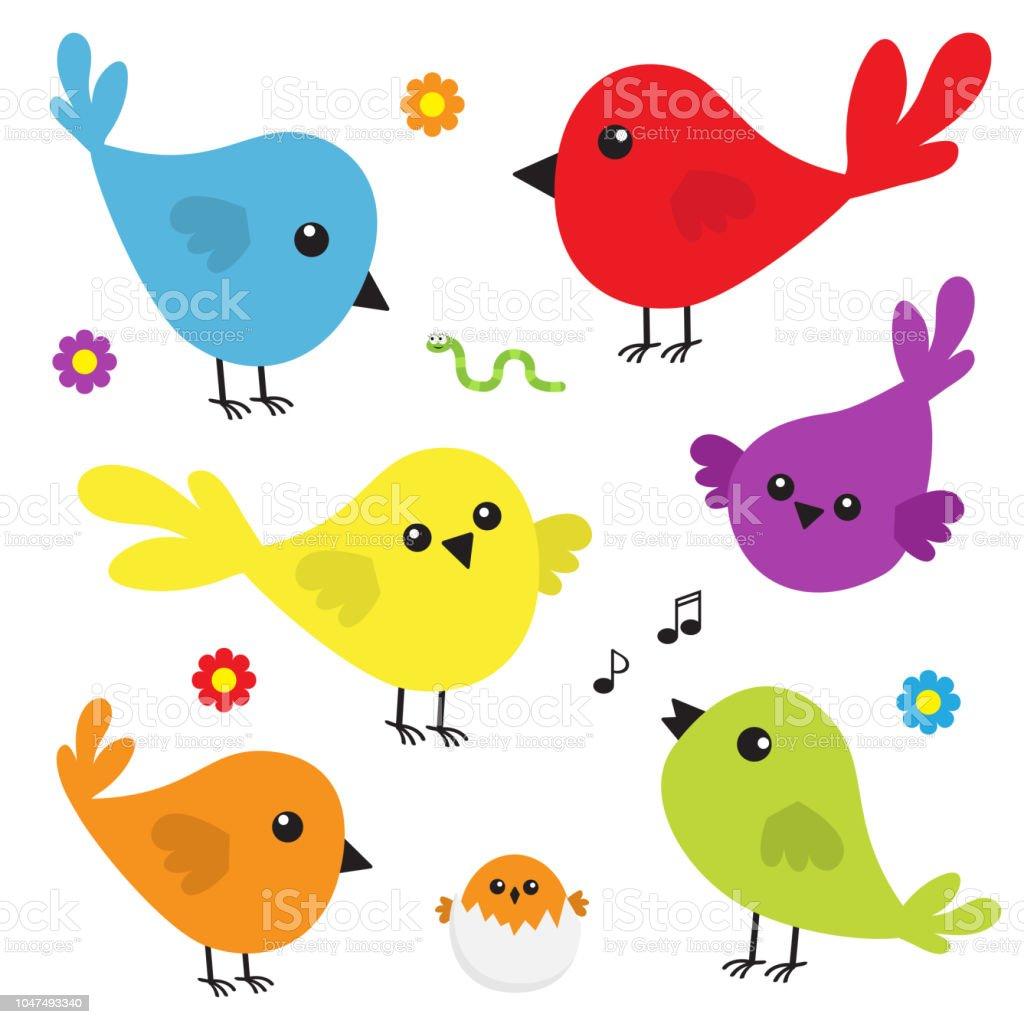 Vetores de Conjunto De Ícones Do Pássaro Personagem Colorido ...