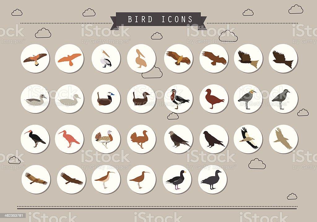 Bird Icon Set vector art illustration