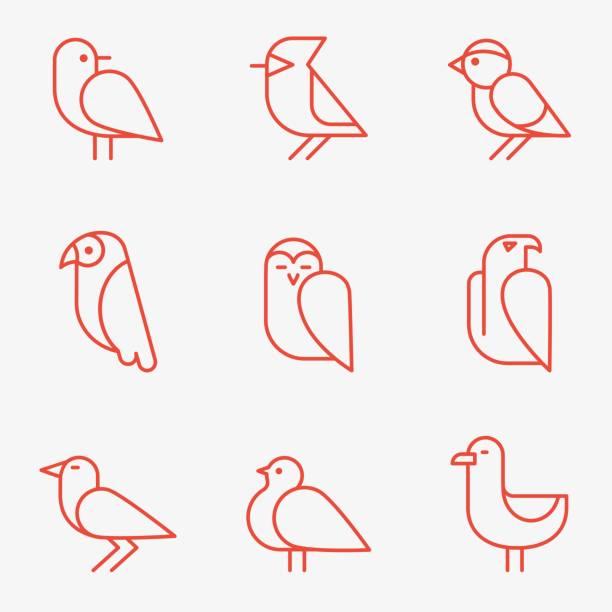 stockillustraties, clipart, cartoons en iconen met bird icons - zanger vogel