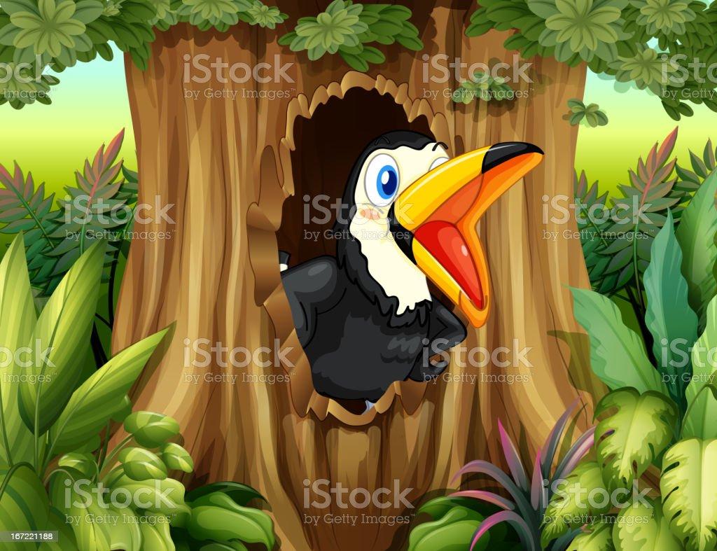 Bird in a tree hollow vector art illustration