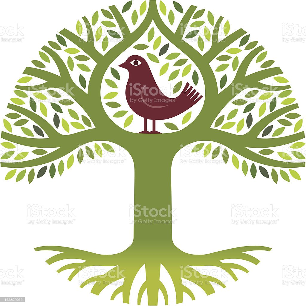 Bird in a tree royalty-free stock vector art