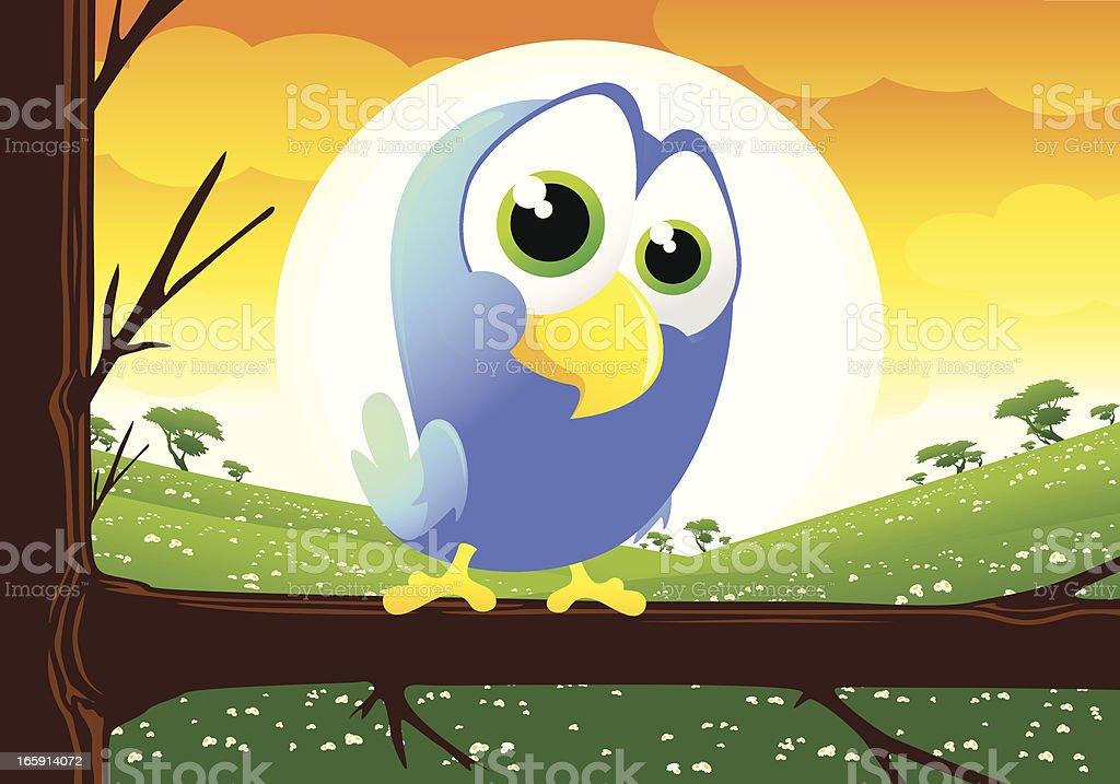 Bird in a tree vector art illustration