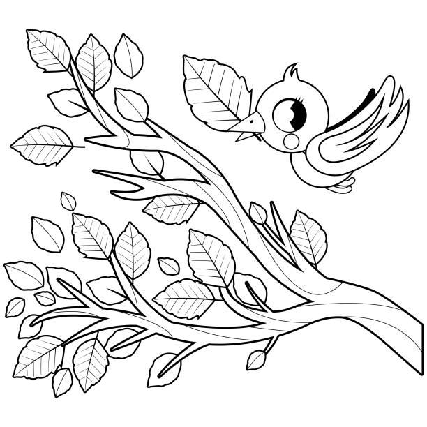 stockillustraties, clipart, cartoons en iconen met zangvogels herfst vliegen en boom tak met droge bladeren. zwart-wit boekenpagina kleurplaten - vogel herfst