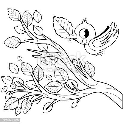 Ilustración de Pájaro En Vuelo Y árbol Rama De Otoño Con Hojas Secas ...