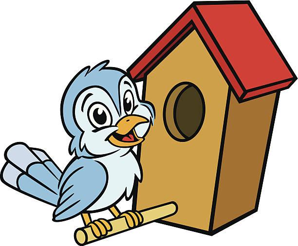 Bird in Birdhouse vector art illustration