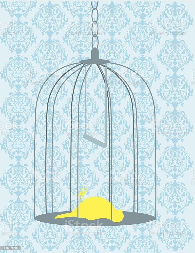 Bird in Cage Dead vector art illustration