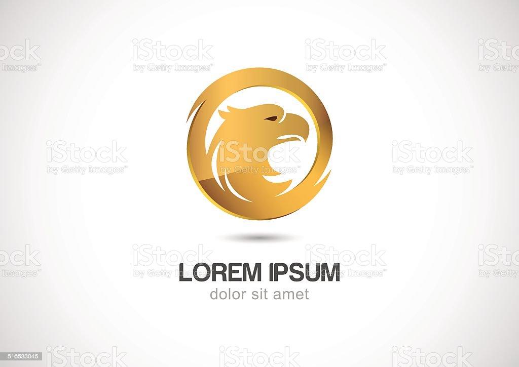 Ilustración de Pájaro En Círculo Marco Dorado Abstracto Vector Logo ...