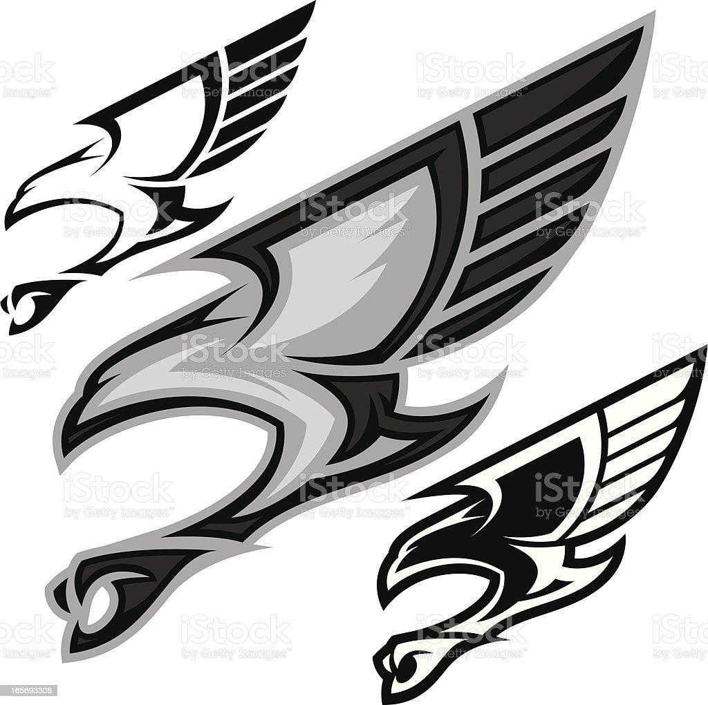 Bird in Flight B&W vector art illustration