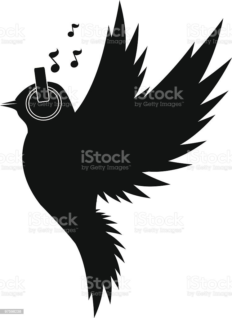 Bird in Flight with Headphones royaltyfri vektorgrafik i bildbank