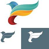 Bird in flyght. Modern styled logotype template. Vector illustration. Bird Icon