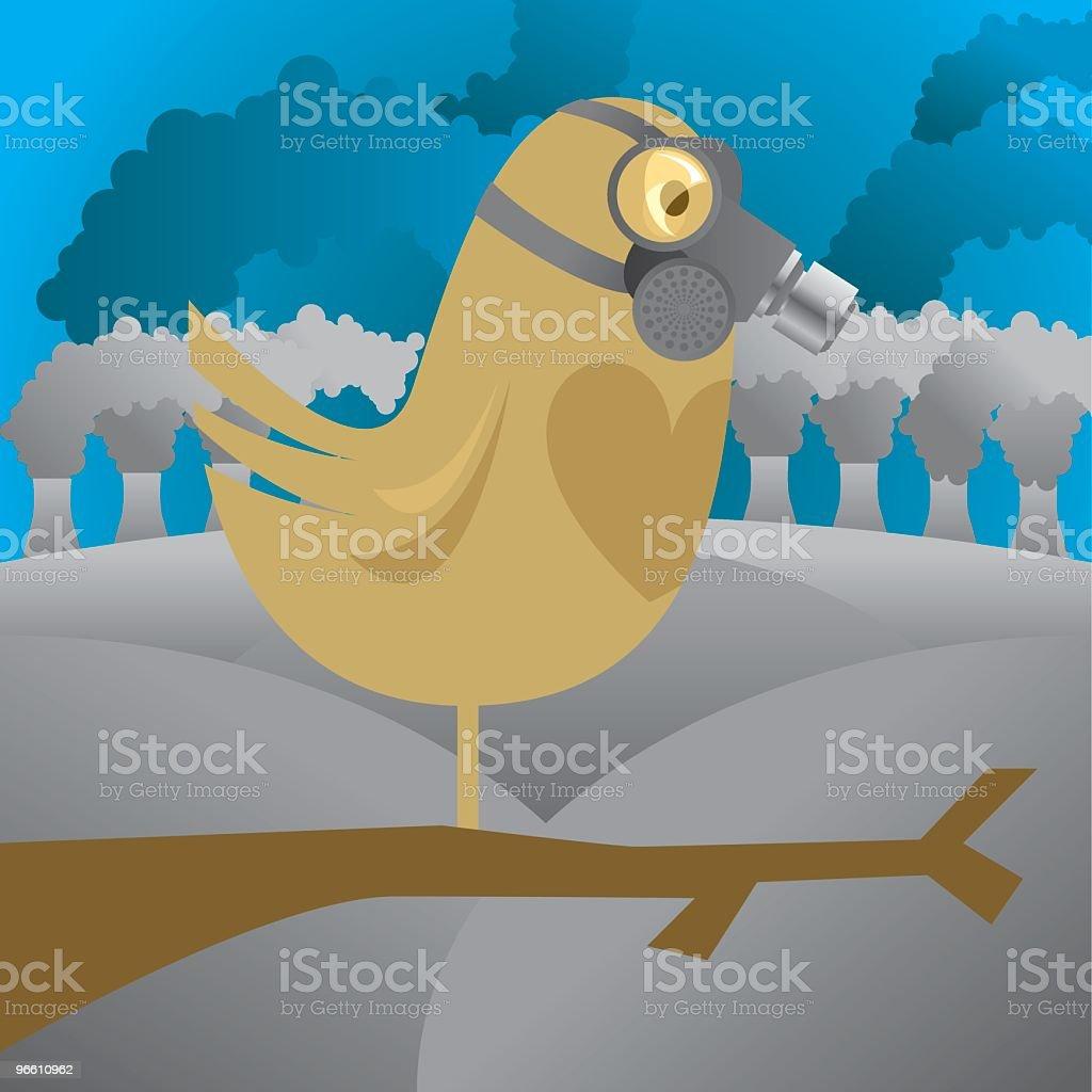 Bird in Gas Mask - Royaltyfri Arbetssäkerhet vektorgrafik