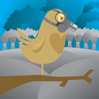 Bird In Gas Mask-vektorgrafik och fler bilder på Arbetssäkerhet