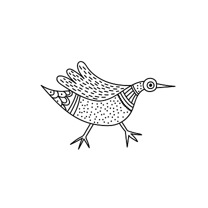 Bird in Indian traditional Gong style