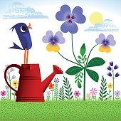 Bird in Spring or Summer garden.