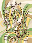 Bird in the grass. Calligraphy swirling elements plants