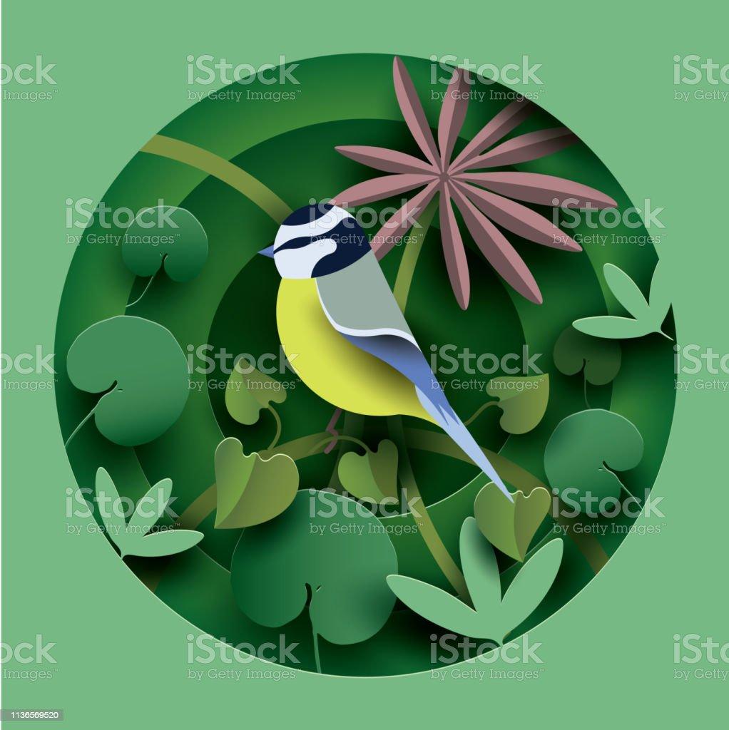 Bird in the thickets of plants. - Grafika wektorowa royalty-free (Abstrakcja)