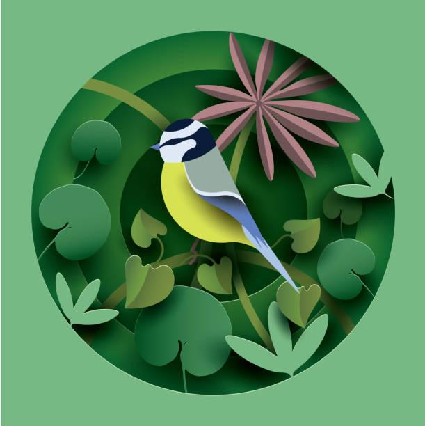 在植物的叢中的鳥。 - 大自然 幅插畫檔、美工圖案、卡通及圖標