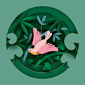 Bird in the thickets of plants. Paper cut style. Spring/Summer composition.  Vector illustration