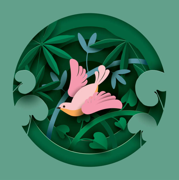 Bird in the thickets of plants. Bird in the thickets of plants. Paper cut style. Spring/Summer composition.  Vector illustration bird clipart stock illustrations