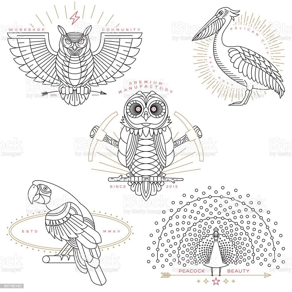 bird labels & badges vector art illustration