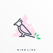 Bird Line Art Illustration Vector Template. Suitable for Creative Industry, Multimedia, entertainment, Educations, Shop, and any related business.