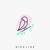 Bird Line Illustration Vector Template. Suitable for Creative Industry, Multimedia, entertainment, Educations, Shop, and any related business.