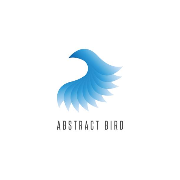 Bird log gradient blue style, abstract winged idea delivery emblem, creative flying graphic design element vector art illustration
