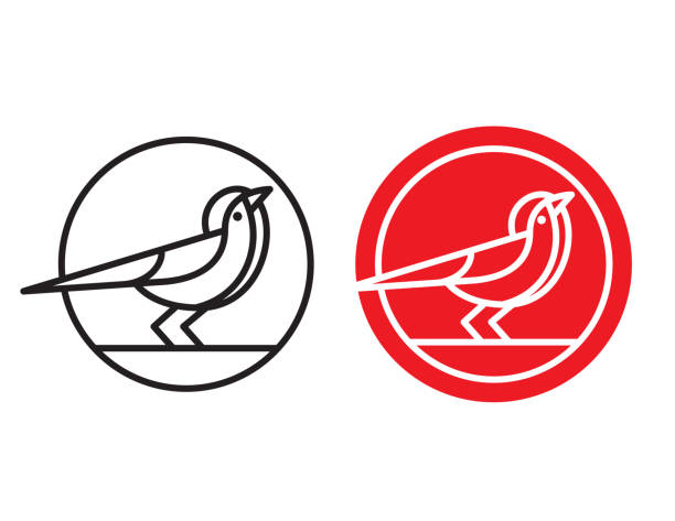 Bird logo, badge or emblem. Mono-line vector illustration of bird in circle. Simple flat design bird outline graphic drawn with one line thickness or weight for use in your designs. finch stock illustrations