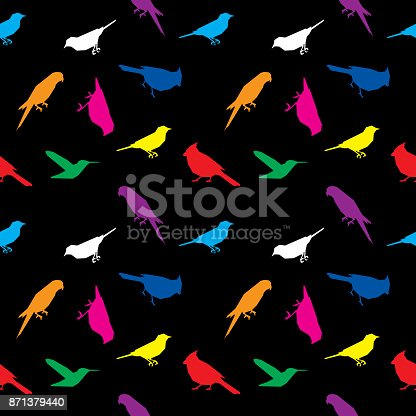 Vector illustration of low polygon colorful birds in a repeating pattern.