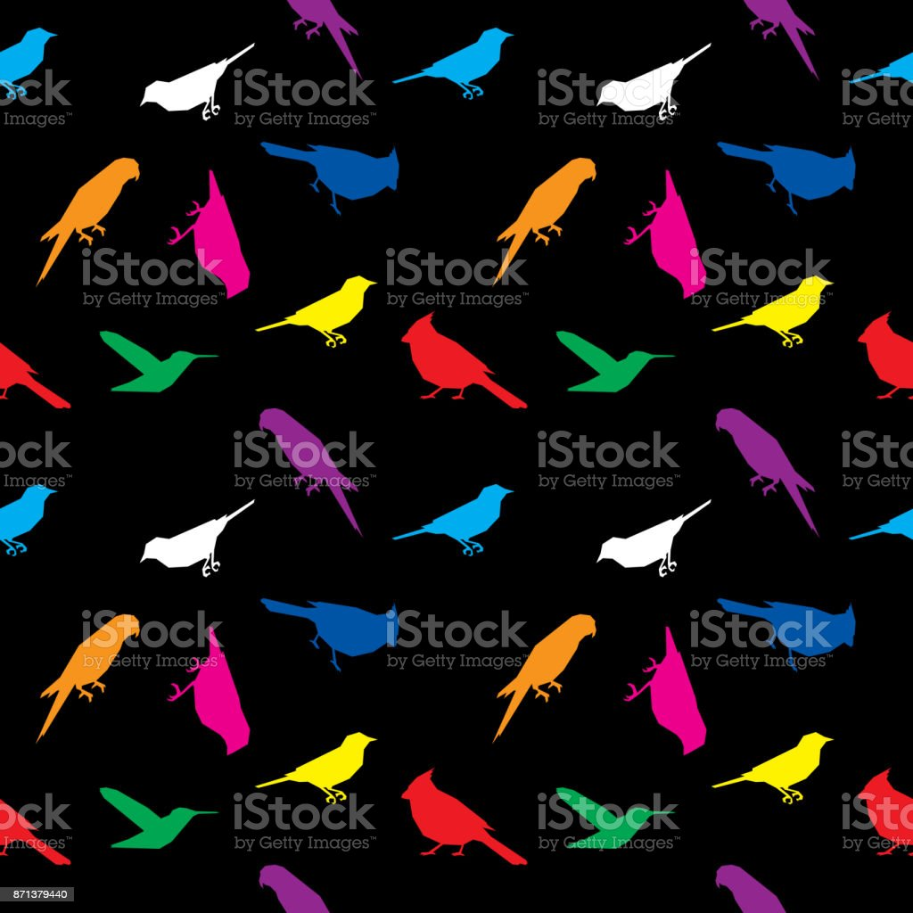 Bird Low Polygon Pattern Colorful vector art illustration