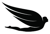 Man with wings silhouette. Easily adaptable for a logo.