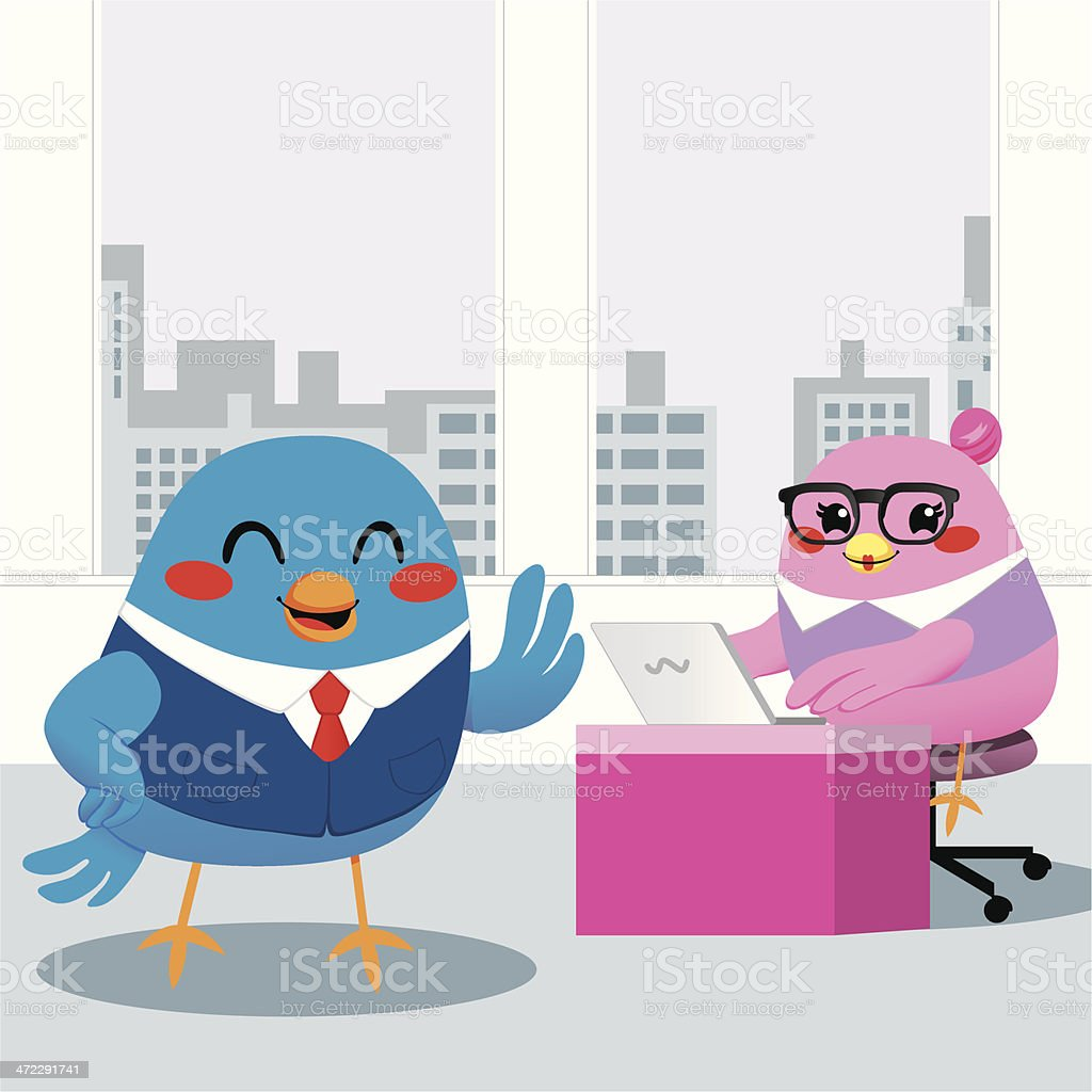 Bird Manager Office royalty-free stock vector art