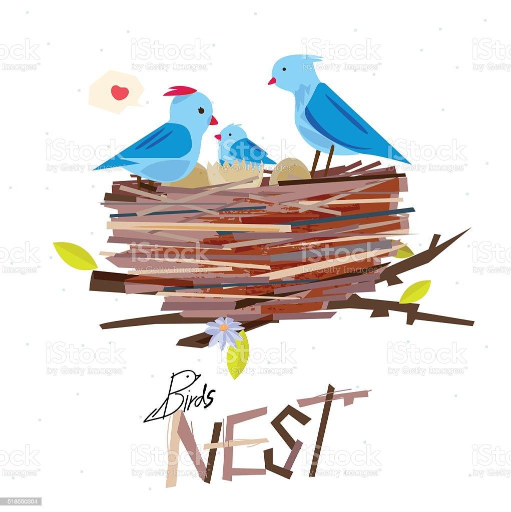 Bird nest on the tree branch with bird family vector art illustration