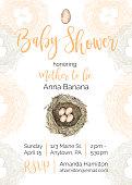 Bird Nest Vector Baby Shower Invitation Design Template
