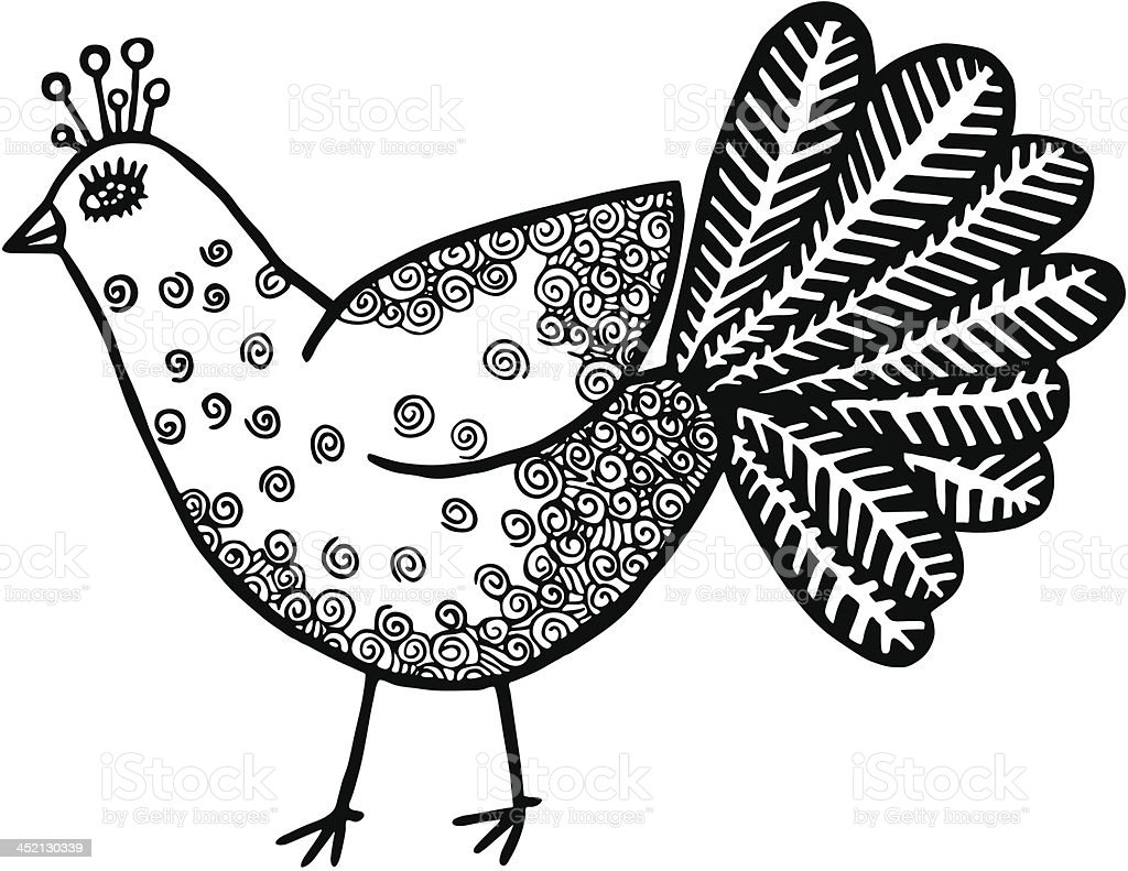 Bird of paradise. Hand drawn illustration royalty-free stock vector art