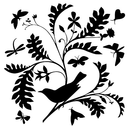 Bird on a branch. Black silhouette on white background.