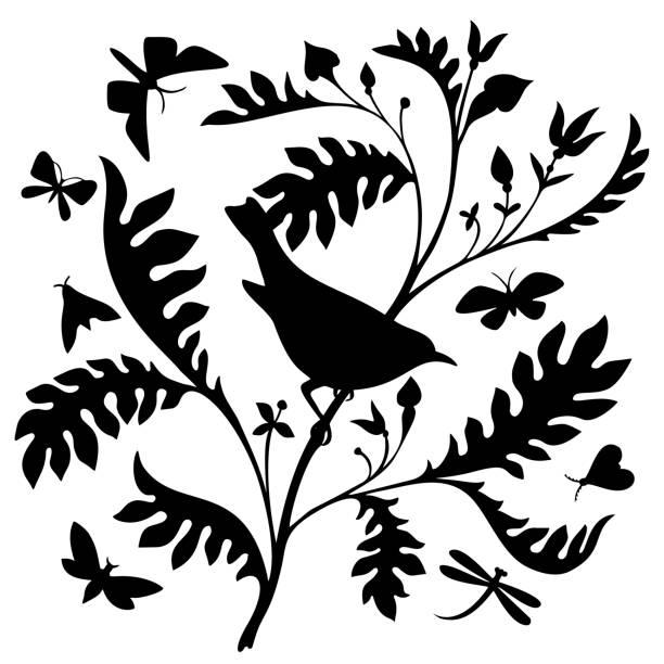 illustrazioni stock, clip art, cartoni animati e icone di tendenza di uccello su un ramo. silhouette nera su sfondo bianco. - farfalla ramo