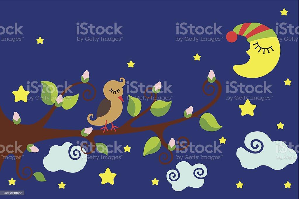 Oiseau sur une branche.  Nighttime.Vector Dessin animé - Illustration vectorielle