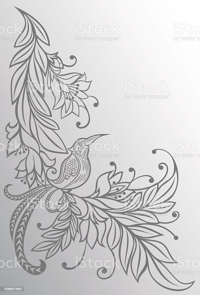 Bird on a branch.Flowers. Natural background.pencil drawing. sketch vector art illustration