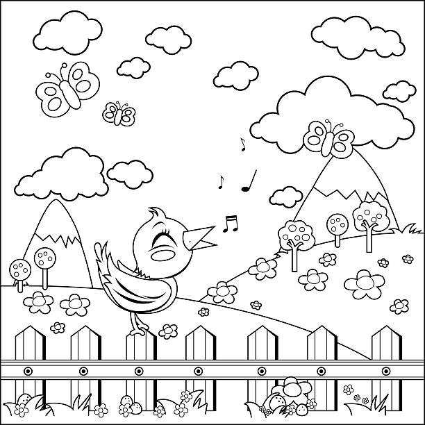 Bird On A Fence In The Countryside Coloring Book Page Vector Art Illustration