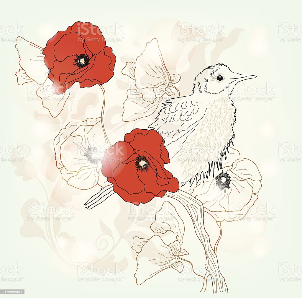 Bird on a floral branch royalty-free bird on a floral branch stock vector art & more images of animal