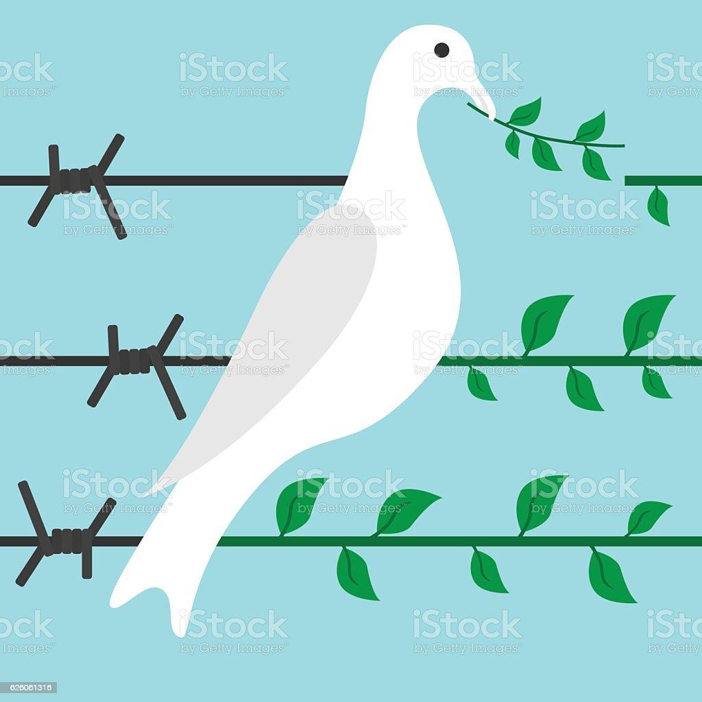 Bird on barbed wire vector art illustration