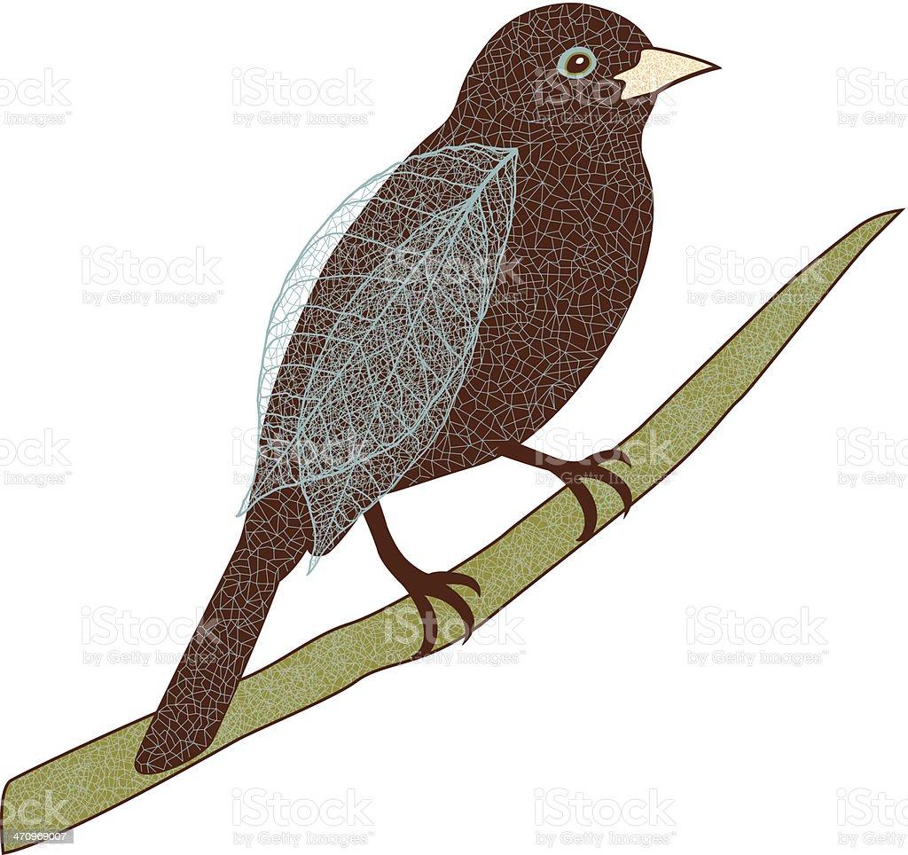 Bird On Branch C vector art illustration