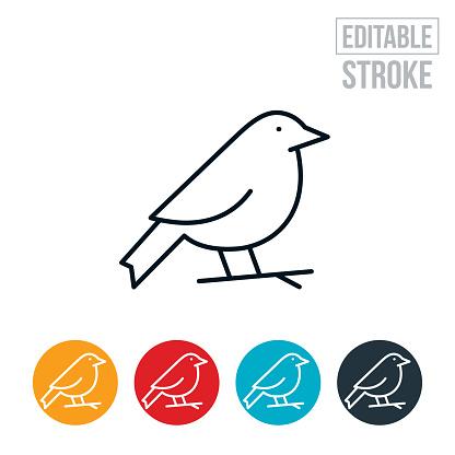 Bird On Branch Thin Line Icon - Editable Stroke