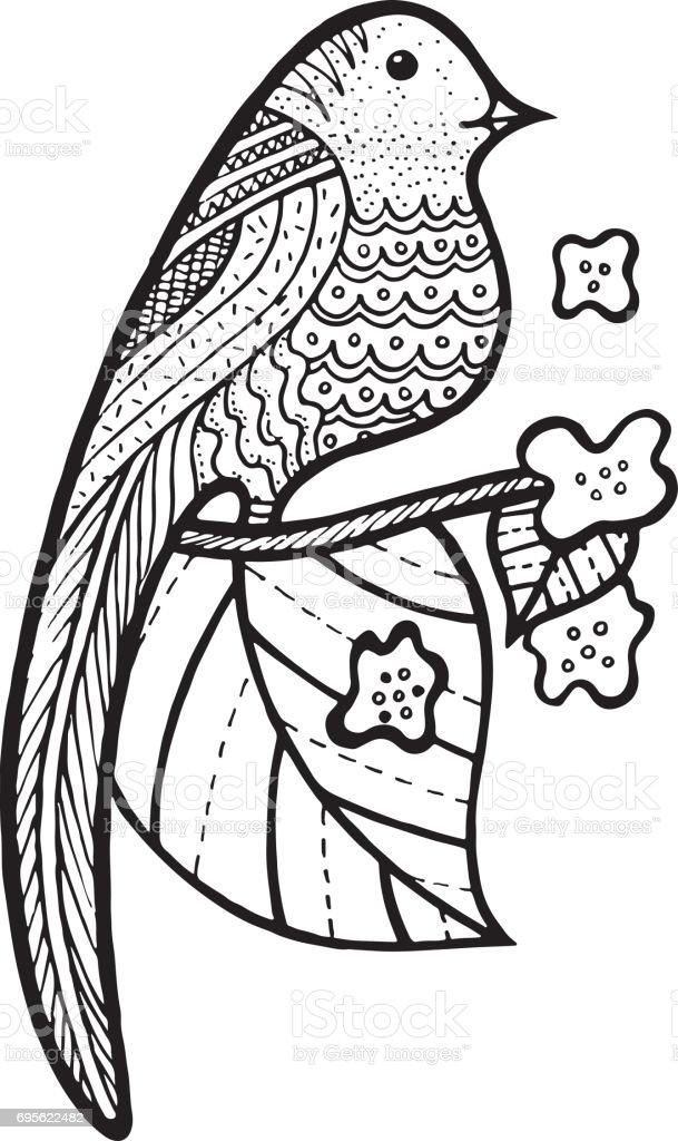 Ilustración de Pájaro En Rama Con Hojas Y Flores Para Colorear ...