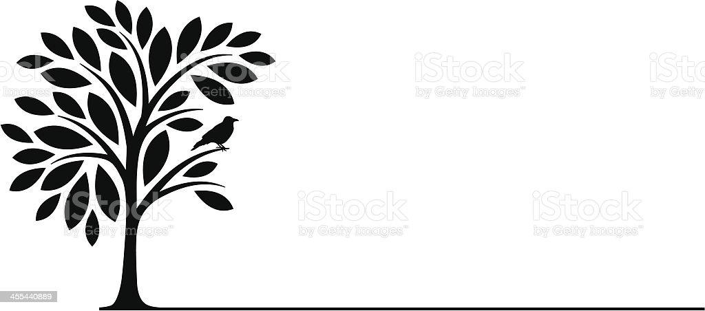 Bird on the tree vector art illustration